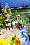 AUGUST 31, 2019 : Trophies are displayed, with the Yonkers Trot trophy, center, prominently displayed at Yonkers Raceway, on August 31, 2019 in Yonkers, NY.  Sue Kawczynski_ESW_CSM