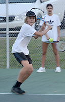 Graham Thomas/Herald-Leader<br /> Siloam Springs tennis player Lucas Junkermann prepares to hit the ball during tennis practice on July 23 at the JBU Tennis Courts.