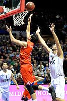 GRONINGEN - Basketbal, Donar - New Heroes, Martiniplaza,  Dutch Basketball League, seizoen 2017-2018, 03-12-2017,  score van Den Bosch speler Stefan Wessels rechts Donar speler Drago Pasalic