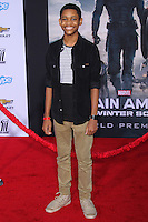 """HOLLYWOOD, LOS ANGELES, CA, USA - MARCH 13: Tyrel Jackson at the World Premiere Of Marvel's """"Captain America: The Winter Soldier"""" held at the El Capitan Theatre on March 13, 2014 in Hollywood, Los Angeles, California, United States. (Photo by Xavier Collin/Celebrity Monitor)"""