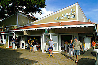 Tourists love to shop at the Lahaina Marketplace. Located on Front street in Historic Lahaina town, Maui.