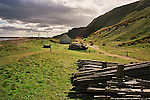 A bothy, wooden stakes and drying green for nets at St. Cyrus, Aberdeenshire - all equipment used by Scotland's last salmon net fishermen. The once-thriving Scottish salmon netting industry fell into decline in the 1970s and 1980s when the numbers of fish caught reduced due to environmental and economic reasons. By 2007, only a handful of men still caught wild salmon and sea trout using traditional methods, mainly for export to the Continent.