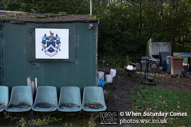Nelson 3 Daisy Hill 6, 12/10/2019. Victoria Park, North West Counties League, First Division North. The groundsman's hut, pictured before Nelson hosted Daisy Hill at Victoria Park. Founded in 1881, the home club were members of the Football League from 1921-31 and has played at their current ground, known as Little Wembley, since 1971. The visitors won this fixture 6-3, watched by an attendance of 78. Photo by Colin McPherson.