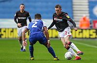 Bolton Wanderers' Craig Noone competing with Wigan Athletic's Nathan Byrne <br /> <br /> Photographer Andrew Kearns/CameraSport<br /> <br /> The EFL Sky Bet Championship - Wigan Athletic v Bolton Wanderers - Saturday 16th March 2019 - DW Stadium - Wigan<br /> <br /> World Copyright &copy; 2019 CameraSport. All rights reserved. 43 Linden Ave. Countesthorpe. Leicester. England. LE8 5PG - Tel: +44 (0) 116 277 4147 - admin@camerasport.com - www.camerasport.com