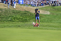 Sergio Garcia (Team Europe) chips from a bunker at the 9th green during Saturday's Foursomes Matches at the 2018 Ryder Cup 2018, Le Golf National, Ile-de-France, France. 29/09/2018.<br /> Picture Eoin Clarke / Golffile.ie<br /> <br /> All photo usage must carry mandatory copyright credit (&copy; Golffile | Eoin Clarke)