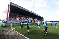 General view of the ground as Bromley players warm up during Dagenham & Redbridge vs Bromley, Vanarama National League Football at the Chigwell Construction Stadium on 9th March 2019