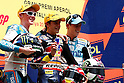July 4, 2010 - Catalunya, Spain -  (L-R) Bradley Smith, Marc Marquez and Pol Espargaro celebrate on the podium at the end of the 125 cc race at Catalunya on July 4, 2010. (Photo Andrew Northcott/Nippon News)