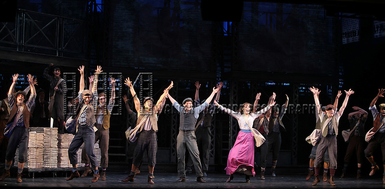 Ensemble Featuring: Ryan Steele, Alex Wong, Jeremy Jordan &Kara Lindsay.during the 'NEWSIES' Opening Night Curtain Call at the Nederlander Theatre in New York on 3/29/2012