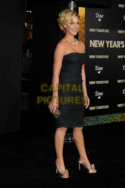 Katherine Heigl.'New Year's Eve' Los Angeles premiere at  Grauman's Chinese Theatre, Hollywood, California, USA..5th December 2011.full length dress black lace strapless gold necklace diamonds shoes peep toe.CAP/ADM/BP.©Byron Purvis/AdMedia/Capital Pictures.
