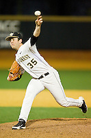 Wake Forest Demon Deacons starting pitcher Tim Cooney #35 delivers a pitch to the plate against the Maryland Terrapins at Wake Forest Baseball Park on March 9, 2012 in Winston-Salem, North Carolina.  The Demon Deacons defeated the Terrapins 10-5.  (Brian Westerholt/Four Seam Images)
