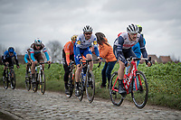 Omloop-winner the day before, Jasper Stuyven (BEL/Trek-Segafredo) preceding today eventual winner Kasper Asgreen (DEN/Deceuninck - QuickStep) up the Oude Kwaremont<br /> <br /> 72nd Kuurne-Brussel-Kuurne 2020 (1.Pro)<br /> Kuurne to Kuurne (BEL): 201km<br /> <br /> ©kramon