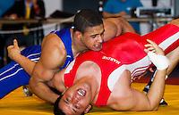 22 MAY 2010 - BIRMINGHAM, GBR - Saeed Hossaini (red) v Leon Rattigan (blue) - 2010 English Senior Wrestling Championships .(PHOTO (C) NIGEL FARROW)
