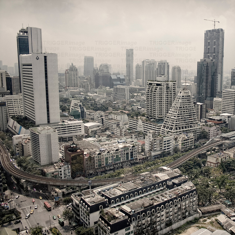 High view of skyscrapers in Bankok