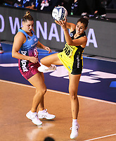 4th July 2020, Auckland, New Zealand;  Ameliaranne Ekenasio as Te Huinga Selby-Rickit looks on.<br /> Central Pulse versus Southern Steel. ANZ Premiership Netball. Auckland Netball Centre, Saturday 4 July 2020.