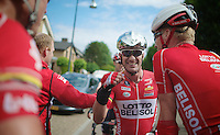 after a first half of the season that saw Greg Henderson (NZL/Lotto-Belisol) in hospital twice for treating his knee, the victory joy is now warmly shared  with teammates after the finish line<br /> <br /> Ster ZLM Tour<br /> stage 3: Buchten-Buchten (190km)