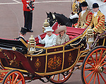 """QUEEN AND CAMILLA, DUCHESS OF CORNWALL.take a carriage ride from Westminster Hall to Buckingham Palace after lunch, in celebration of the Queen's Diamond Jubilee_5th June 2012.Mandatory Credit Photo: ©L Cash/NEWSPIX INTERNATIONAL..**ALL FEES PAYABLE TO: """"NEWSPIX INTERNATIONAL""""**..IMMEDIATE CONFIRMATION OF USAGE REQUIRED:.Newspix International, 31 Chinnery Hill, Bishop's Stortford, ENGLAND CM23 3PS.Tel:+441279 324672  ; Fax: +441279656877.Mobile:  07775681153.e-mail: info@newspixinternational.co.uk"""
