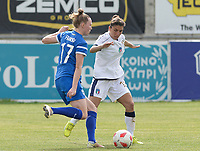 20180305 - LARNACA , CYPRUS : Finnish Sanni Franssi pictured in a duel with Italian Elisa Bartoli (r)during a women's soccer game between Finland and Italy , on monday 5 March 2018 at the AEK Arena in Larnaca , Cyprus . This is the third game in group A for Finland and Italy during the Cyprus Womens Cup , a prestigious women soccer tournament as a preparation on the World Cup 2019 qualification duels. PHOTO SPORTPIX.BE | DAVID CATRY