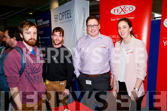 Sean Conway, James Mahony, Cathal Heaslip and Marguerite Roche at the Fexco Stand at the Careers Fair at Tralee IT on Wednesday.