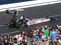 Feb 8, 2015; Pomona, CA, USA; NHRA top fuel driver Antron Brown on the return road during the Winternationals at Auto Club Raceway at Pomona. Mandatory Credit: Mark J. Rebilas-