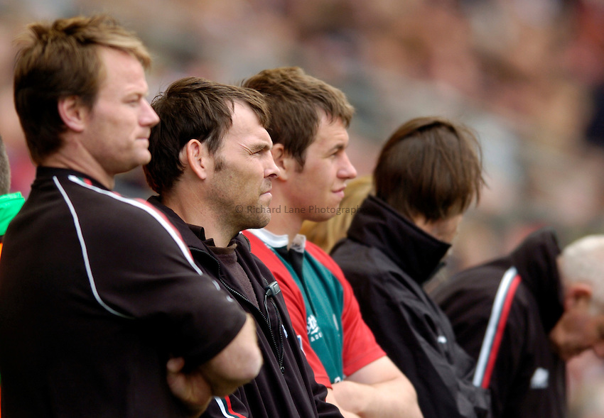 Photo. Richard Lane..Leicester Tigers v London Wasps. Zurich Premiership Final. 14/05/2005..Leicester coaches, Pat Howard and John Wells.