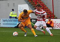 Tom Hateley gets the better of James Martin in the Hamilton Academical v Motherwell friendly match played at New Douglas Park, Hamilton on 24.7.12..
