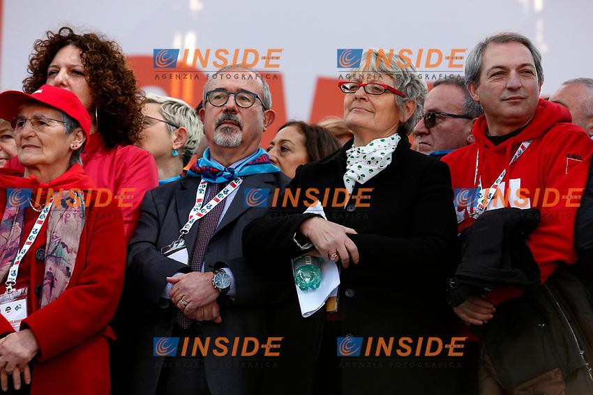 Carmelo Barbagallo e Annamaria Furlan  <br /> Rome February 9th 2019. Demonstration of the three Italian trade unions, CGIL, CISL, UIL.<br /> Foto Samantha Zucchi Insidefoto