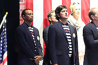 USA Team Players Tiger Woods, Bubba Watson and Steve Stricker on stage at the Closing Ceremony after Sunday's Singles Matches of the 39th Ryder Cup at Medinah Country Club, Chicago, Illinois 30th September 2012 (Photo Colum Watts/www.golffile.ie)