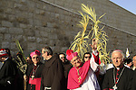 Israel, Jerusalem, the Latin Patriarch of Jerusalem Fouad Twal leads the Palm Sunday procession