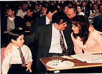Montreal (QC) CANADA file photo - april 1995- Lucien Bouchard, wife Audrey Best and kid