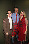 Guiding Light and Another World's David Andrew MacDonald stars in Charlie's Aunt and poses with his wife Monette on opening night of the play wearing the Tartan - Macdonald of Glenaledale on October 27, 2018 at the Shakespeare Theatre of New Jersey. It runs through November 18, 2018. David and Monette pose with Seamus Mulcahy who is also in play. (Photo by Sue Coflin/Max Photo)