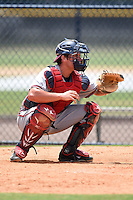 GCL Braves catcher Nathan Hass (24) during a game against the GCL Yankees 2 on June 23, 2014 at the Yankees Minor League Complex in Tampa, Florida.  GCL Yankees 2 defeated the GCL Braves 12-4.  (Mike Janes/Four Seam Images)
