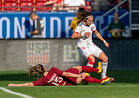 FRISCO, TX - MARCH 11: Abbie McManus #15 of England tackles Marta Cardona #9 of Spain during a game between England and Spain at Toyota Stadium on March 11, 2020 in Frisco, Texas.