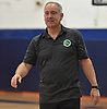 Pete Cerrone, Farmingdale varsity girls basketball coach, prepares to shake hands with opposing players shortly before a non-league game against host Manhasset High School on Saturday, Dec. 8, 2018.