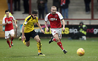 Fleetwood Town's Paddy Madden chases under pressure from Oxford United's Jamie Hanson<br /> <br /> Photographer Rich Linley/CameraSport<br /> <br /> The EFL Sky Bet League One - Fleetwood Town v Oxford United - Saturday 12th January 2019 - Highbury Stadium - Fleetwood<br /> <br /> World Copyright &copy; 2019 CameraSport. All rights reserved. 43 Linden Ave. Countesthorpe. Leicester. England. LE8 5PG - Tel: +44 (0) 116 277 4147 - admin@camerasport.com - www.camerasport.com