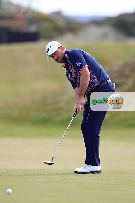 Graeme McDOWELL (NIR) putts on the 5th green during Saturday's Round 3 of the 2015 Dubai Duty Free Irish Open, Royal County Down Golf Club, Newcastle Co Down, Northern Ireland 5/30/2015<br /> Picture Eoin Clarke, www.golffile.ie