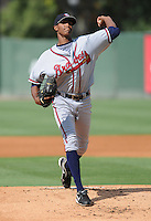 Pitcher Ronan Pacheco (32) of the Rome Braves, Class A affiliate of the Atlanta Braves, in the first game of a doubleheader against the Greenville Drive on August 15, 2011, at Fluor Field at the West End in Greenville, South Carolina. Rome defeated Greenville, 6-3. (Tom Priddy/Four Seam Images)