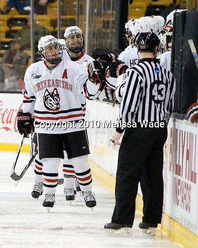 Jim Driscoll (NU - 4), ? - The Northeastern University Huskies defeated the Harvard University Crimson 4-1 (EN) on Monday, February 8, 2010, at the TD Garden in Boston, Massachusetts, in the 2010 Beanpot consolation game.