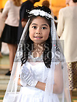 Ashley Gallego from St Brigids school who recieved first holy communion in Our Lady of Lourdes church. Photo:Colin Bell/pressphotos.ie