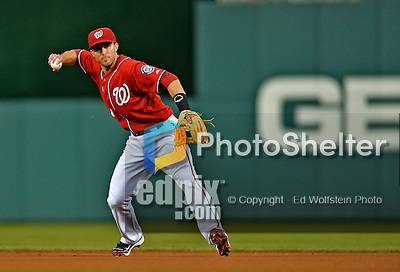 19 May 2012: Washington Nationals infielder Stephen Lombardozzi in action against the Baltimore Orioles at Nationals Park in Washington, DC. The Orioles defeated the Nationals 6-5 in the second game of their 3-game series. Mandatory Credit: Ed Wolfstein Photo