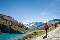 Switzerland, Canton Valais, Val de Moiry above Grimentz at Val d'Anniviers: reservoir Lac de Moiry, elevation of 2.249 m, at background the Moiry Glacier (Glacier de Moiry) and the Dent Blanche, 4.357 m | Schweiz, Kanton Wallis, Val de Moiry oberhalb von Grimentz (im Val d'Anniviers): Stausee Lac de Moiry auf 2.249 m, im Hintergrund der Moirygletscher (Glacier de Moiry) und die Dent Blanche, 4.357 m