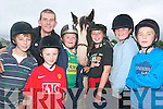 SUMMER CAMP: Attending the summer camp at the Listowel Equestrian Centre on Thursday were l-r: Rory McGuire, Navan, Michael Kirby, Duagh, Shane Fitzgerald, Kilflynn, Liam McDermott, Navan, Shauna Crowe, Kilmoyley and Kevin Brouder, Listowel with Joshua the horse and stable technician Gerard Flavin, Tarbert.   Copyright Kerry's Eye 2008