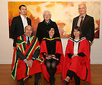 20/1/2015   (with compliments)  Attending the University of Limerick conferrings on Tuesday afternoon were Dr Rachel McEvoy, Killimor, Ballinasloe, Galway(front centre) who was conferred with a PHD with on left Prof Michael Larvin, Head, Graduate Entry Medical School and on right Rachel's supervisor Prof Anne MacFarlane.  Back row from leftShane McClearn and Peig and Gerry McEvoy.<br /> Picture Liam Burke/Press 22