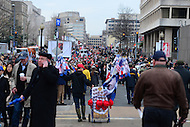 Washington, DC - January 20, 2017: Thousands of people walk down D St. NW in the District of Columbia to go through one of many security checkpoints to attend the inauguration of Donald J. Trump as the 45th President of the United States, January 20, 2017.  (Photo by Don Baxter/Media Images International)