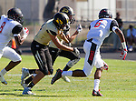 Palos Verdes, CA 09/25/15 - Dawan Ballard (Lawndale #6), Gabor Nemeth (Peninsula #72), Jack Grimes (Peninsula #20) and Eyo Immanuel (Lawndale #8) in action during the Lawndale - Palos Verdes Peninsula Varsity football game at Peninsula High School.