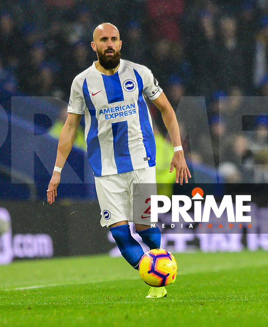 Bruno Saltor Captain of Brighton & Hove Albion (2)   during the Premier League match between Brighton and Hove Albion and Leicester City at the American Express Community Stadium, Brighton and Hove, England on 24 November 2018. Photo by Edward Thomas / PRiME Media Images.