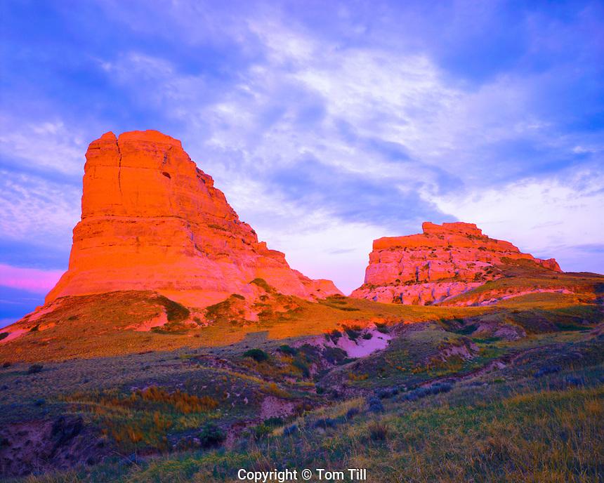 Courthouse & Jailhouse Rocks at Sunset in Summer, Western Nebraska