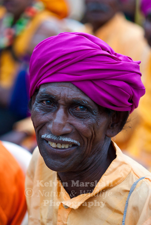 An elderly Punjabi Sikh man attending a cultural festival. Mysore, Southern India.