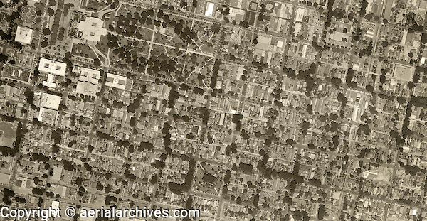 historical aerial photograph Sacramento, California, 1952