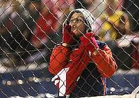 CAXIAS DO SUL, RS, 25.05.2014 - CAMPEONATO BRASILEIRO 2014 - SÉRIE A - INTERNACIONAL X CRUZEIRO - Torcedor mirim do Internacional, antes da partida contra o Cruzeiro, jogo válido pela sétima rodada do Campeonato Brasileiro no estádio Centenário, em Caxias do Sul, neste domingo, 25. (Foto: Pedro H. Tesch / Brazil Photo Press).