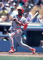 Cincinnati Reds Eric Davis (44) in action during a game from the 1991 season.  Eric Davis played for 17 years with 6 different teams.